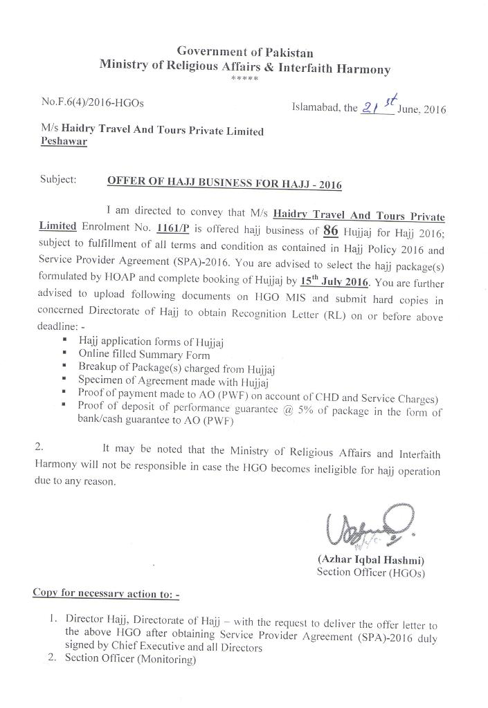 OFFER LETTER HAJJ 2016 Haidry Travel and Tours pvt Limited